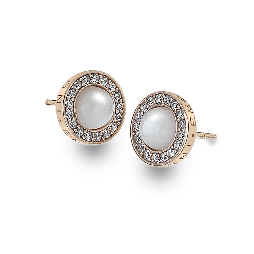 Støíbrné náušnice Hot Diamonds Emozioni Giove Pearl Rose Gold