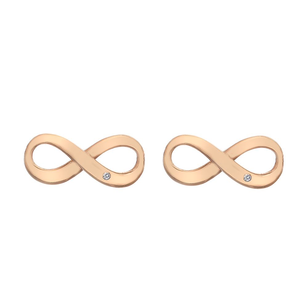 Støíbrné náušnice Hot Diamonds Infinity Rose Gold