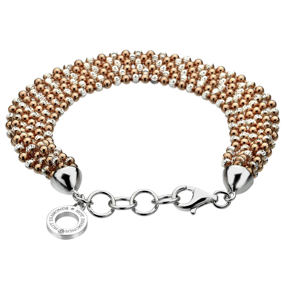 Støíbrný náramek Hot Diamonds Deluxe Garland Bead Rose Gold