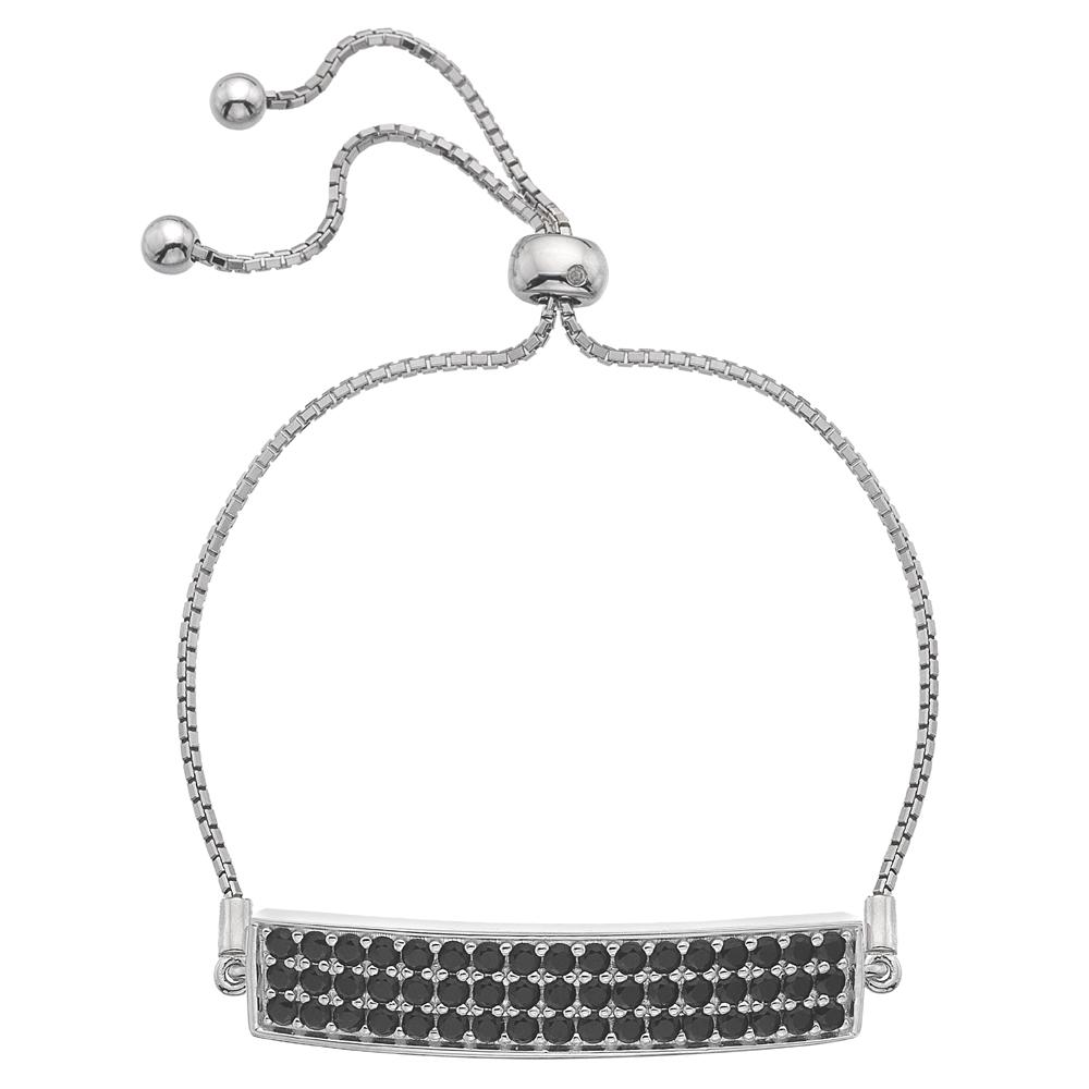 Støíbrný náramek Hot Diamonds Crystal Triple Row Black