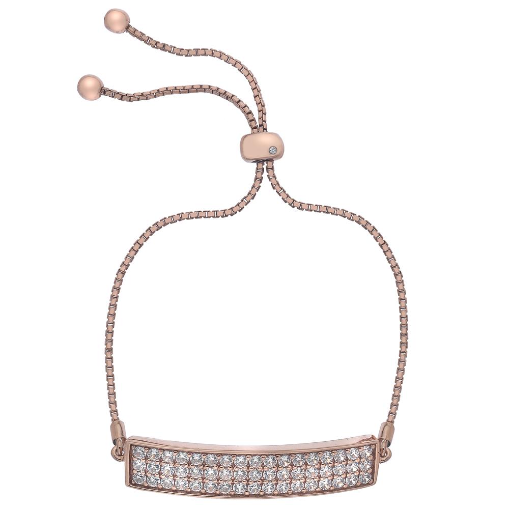 Støíbrný náramek Hot Diamonds Crystal Triple Row Clear Rose Gold