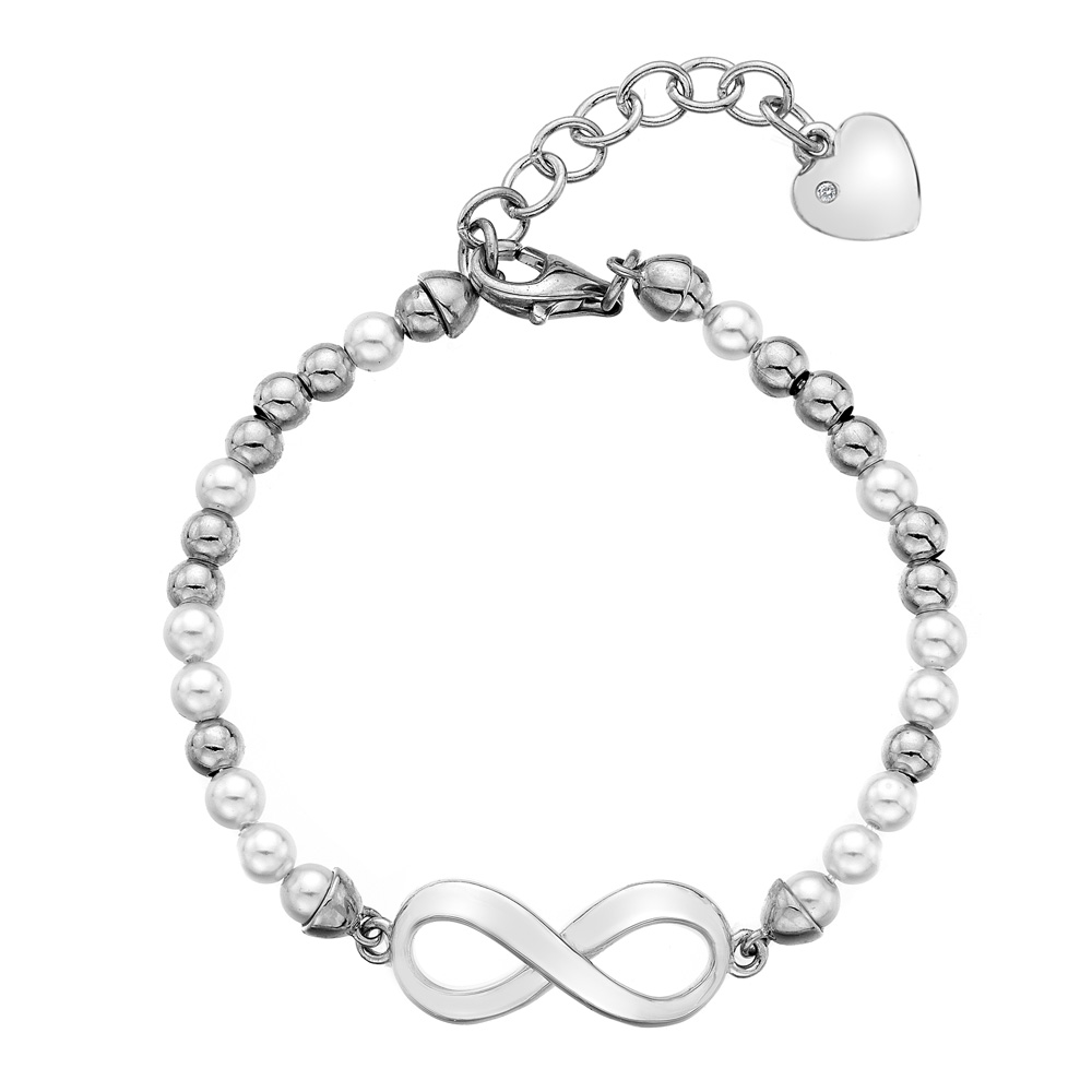 Støíbrný náramek Hot Diamonds Infinity Bead Pearl