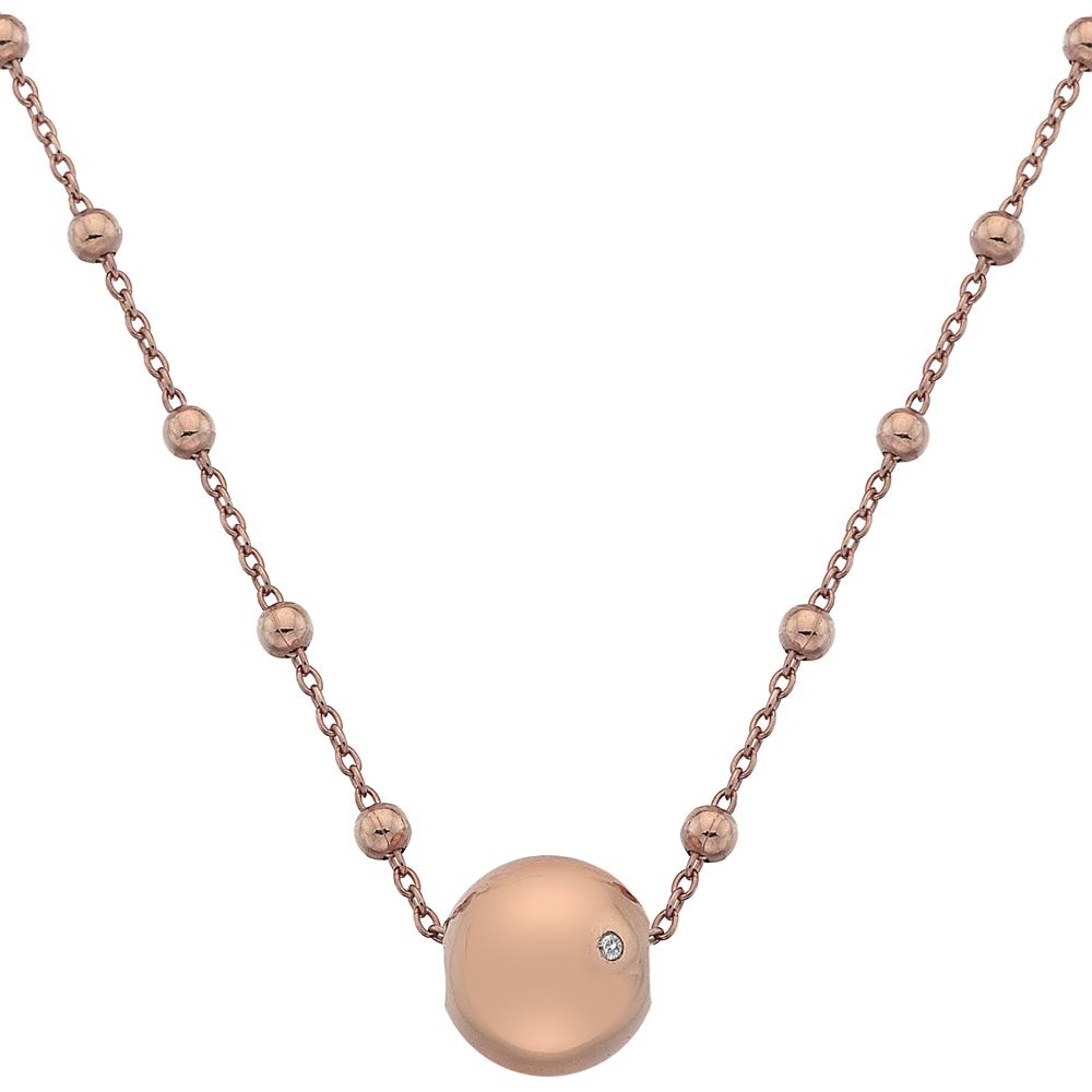 Støíbrný náhrdelník Hot Diamonds Globe Rose Gold
