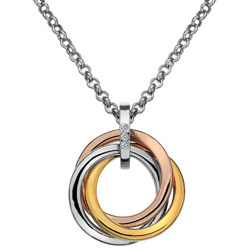 Støíbrný pøívìsek Hot Diamonds Trio Rose Gold