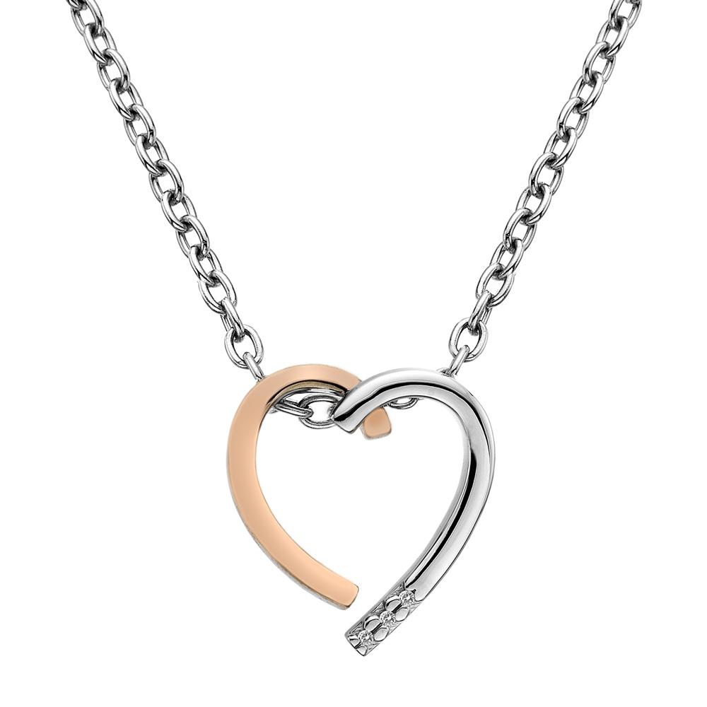 Stříbrný přívěsek Hot Diamonds Glide Heart Large Rose Gold
