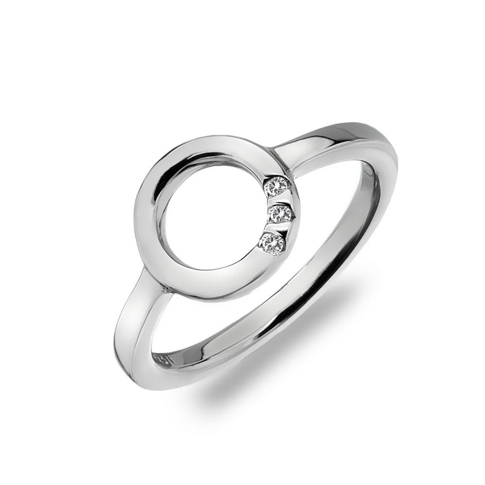 Støíbrný prsten Hot Diamonds Halo Trio Of Diamond