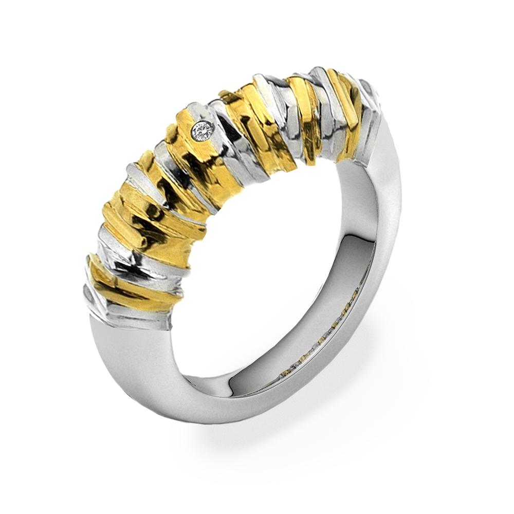 Stříbrný prsten Hot Diamonds By The Shore Gold Large
