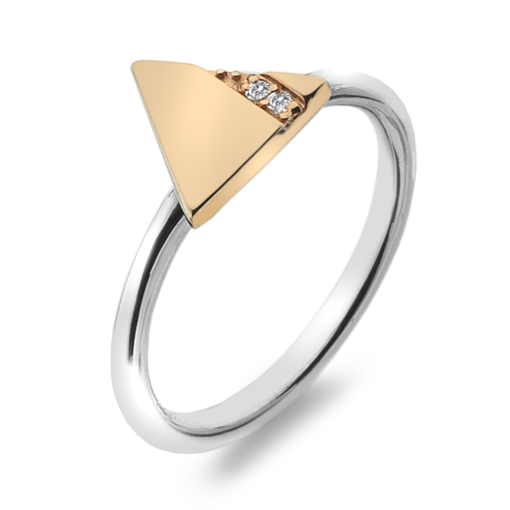 Støíbrný prsten Hot Diamonds Silhouette Triangle Rose Gold