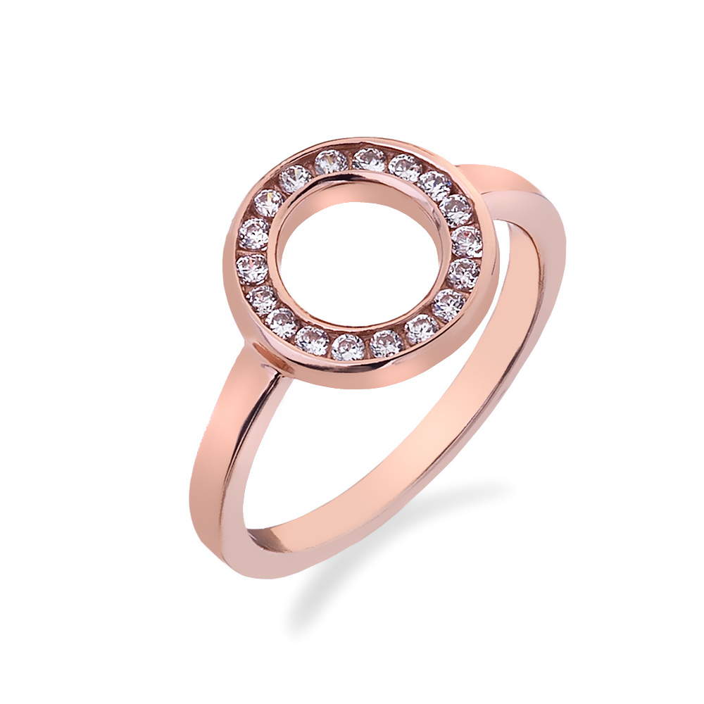 Stříbrný prsten Hot Diamonds Emozioni Saturno Rose Gold