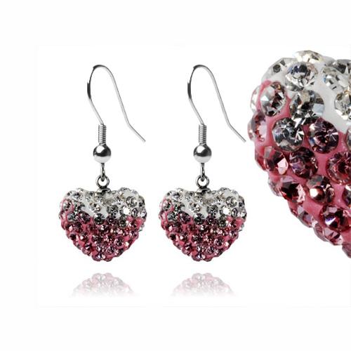 Ocelové náušnice s krystaly Heart Rose White