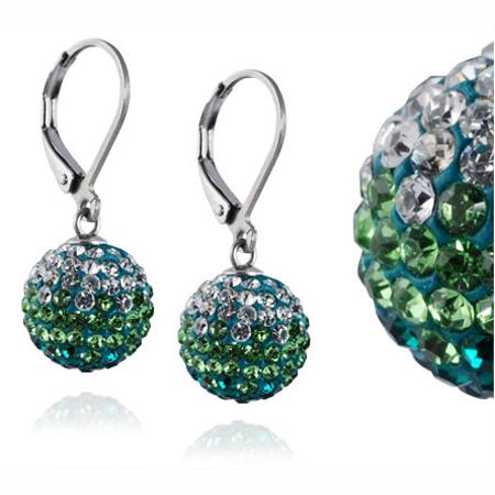 Ocelové náušnice s krystaly Ball Green White