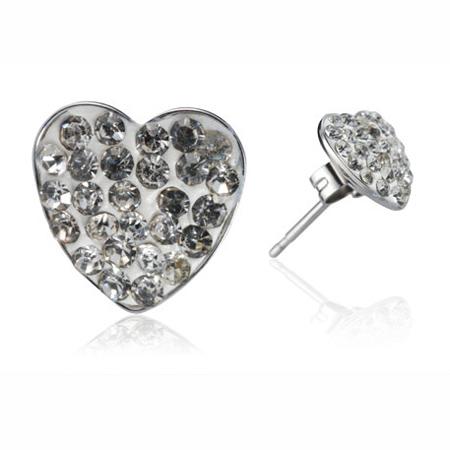 Ocelové náušnice s krystaly Hearts White