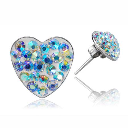Ocelové náušnice s krystaly Hearts Rainbow