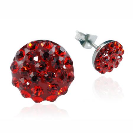 Ocelové náušnice s krystaly Circle Red