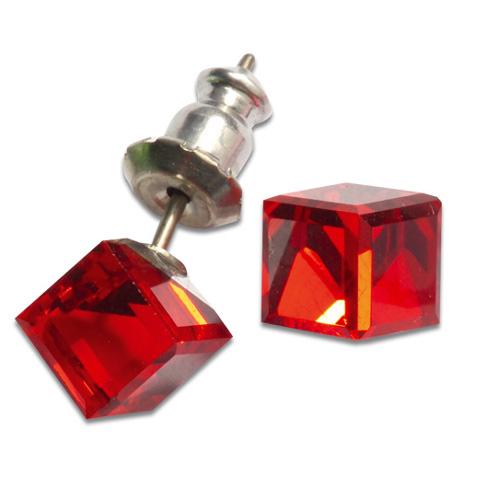 Náušnice s krystaly Swarovski Poezia Red