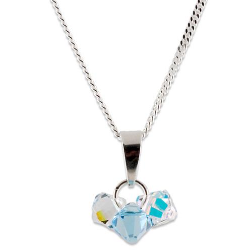 Stříbrný přívěsek s krystaly Swarovski Bicone Aquamarine