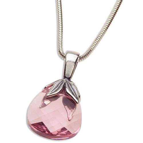 Stříbrný náhrdelník s krystalem Swarovski Briolette Pink