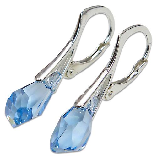 Stříbrné náušnice s krystalem Swarovski Polygon Aquamarin