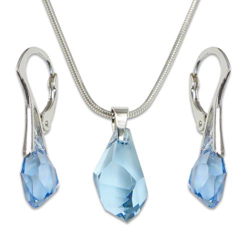 Stříbrná sada s krystaly Swarovski Polygon Aquamarin