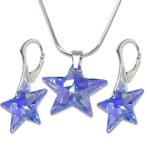 Stříbrná sada s krystaly Swarovski Star Sapphire