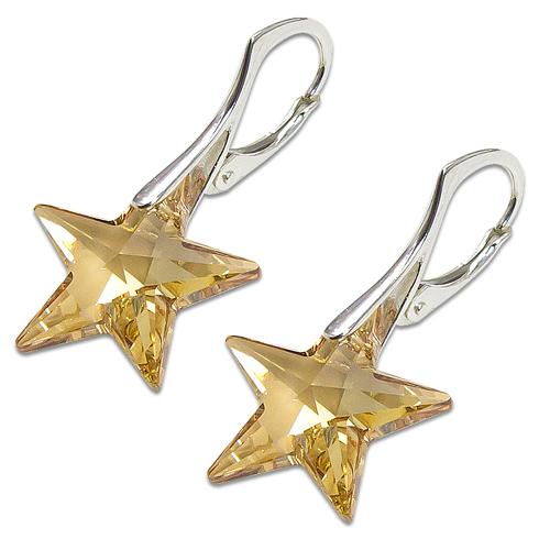 Stříbrné náušnice s krystalem Swarovski Star Golden Shadow