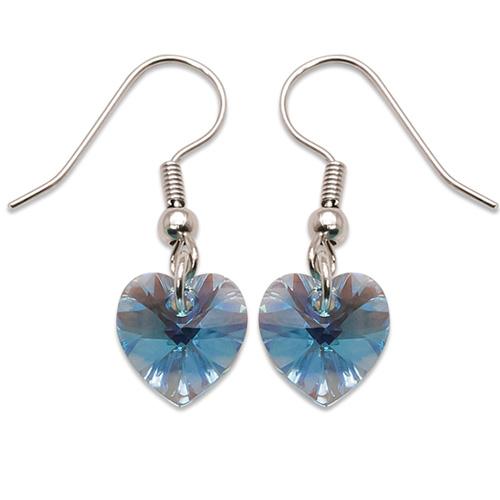 Stříbrné náušnice s krystalem Swarovski Aquamarine