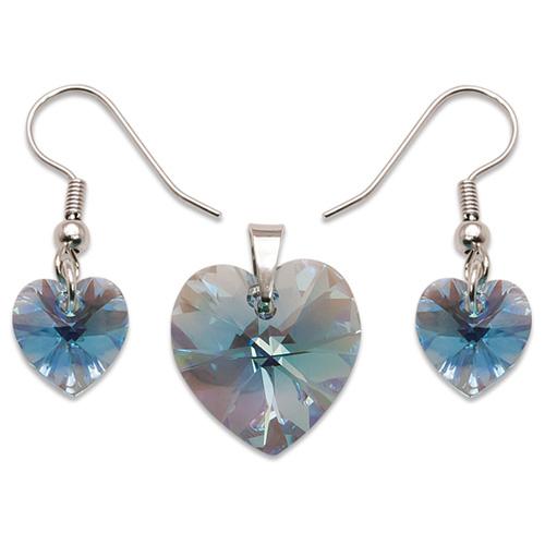 Stříbrný set s krystaly Swarovski Aquamarine