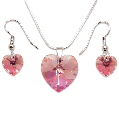 Stříbrná sada s krystaly Swarovski Light Rose