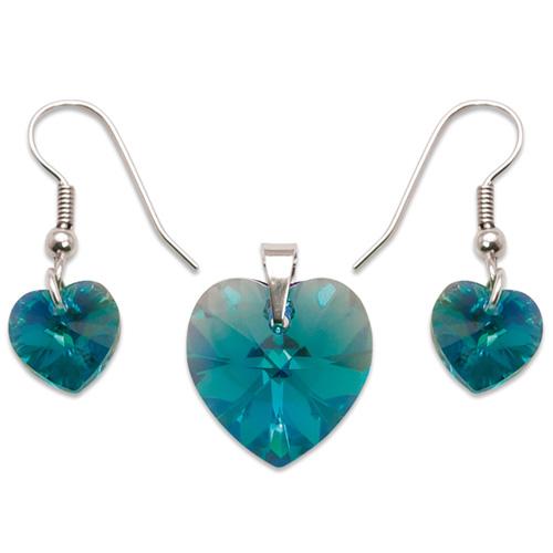 Stříbrný set s krystaly Swarovski Blue Zircon
