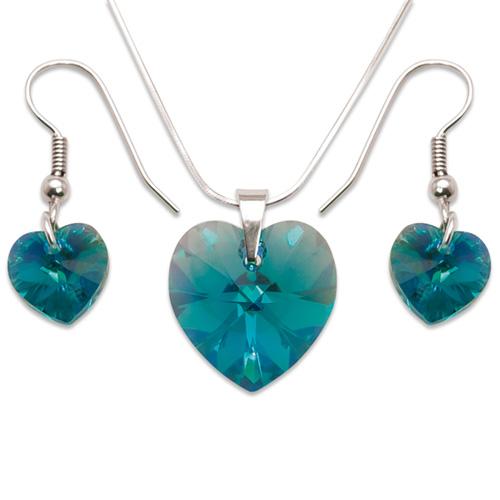 Stříbrná sada s krystaly Swarovski Blue Zircon