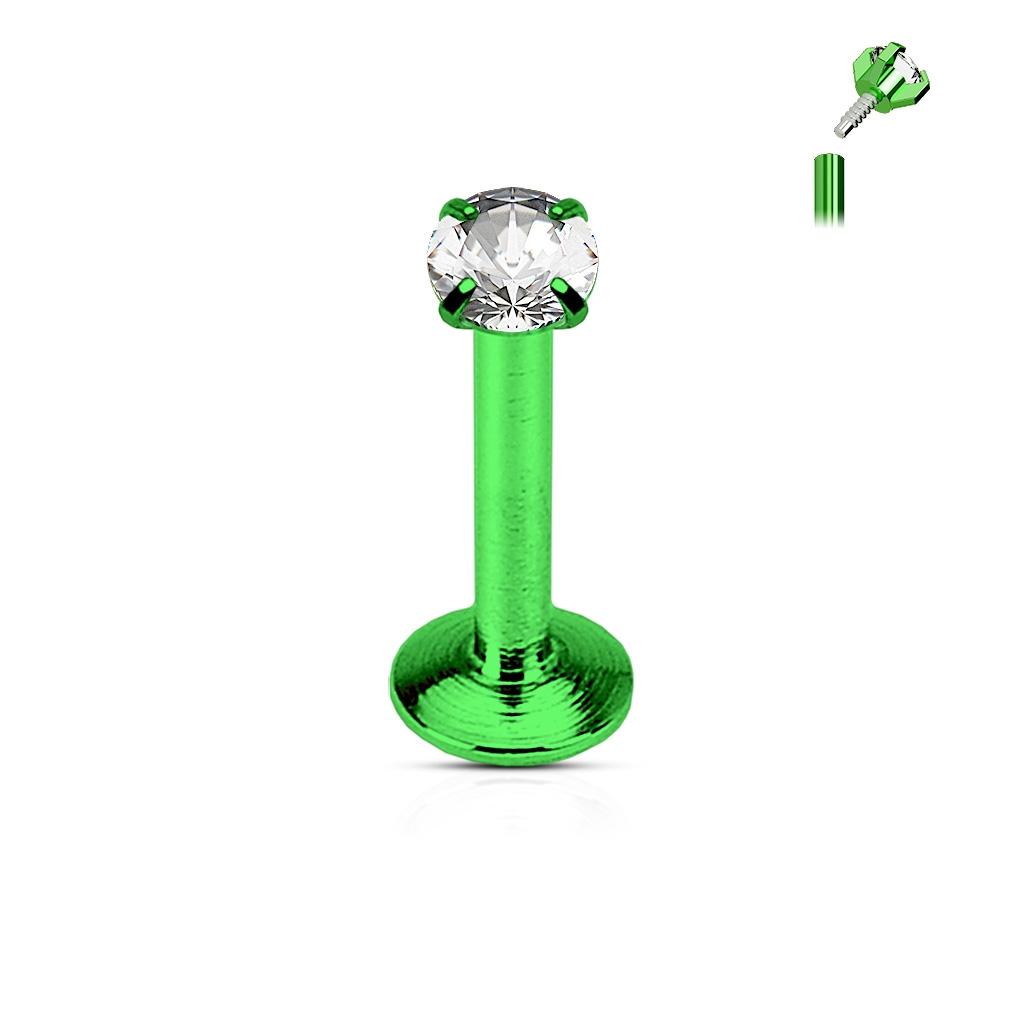 Piercing do brady zelený, čirý kamínek LB01081