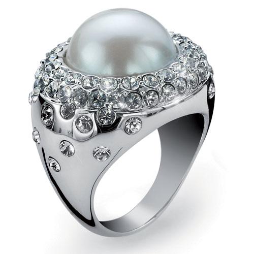 Prsten s krystaly Swarovski Oliver Weber Frame Pearl 2439