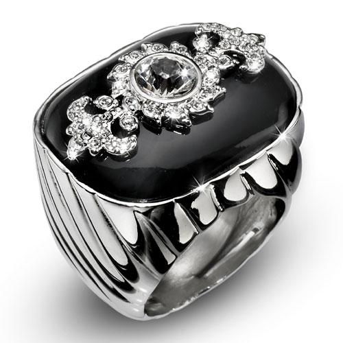 Prsten s krystaly Swarovski Oliver Weber Lavish 2463-BLA