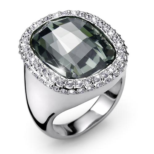 Prsten s krystaly Swarovski Oliver Weber Graphic Black
