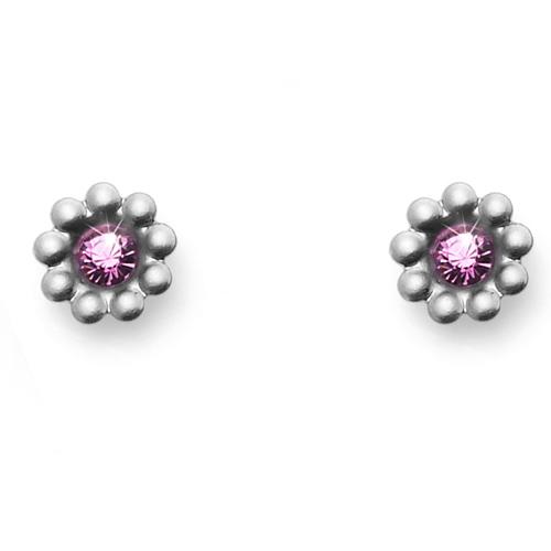 Náušnice s krystaly Swarovski Oliver Weber Blumy Titan Rose