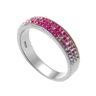 Stříbrný prsten s krystaly Swarovski Oliver Weber Basic 7711-ROS