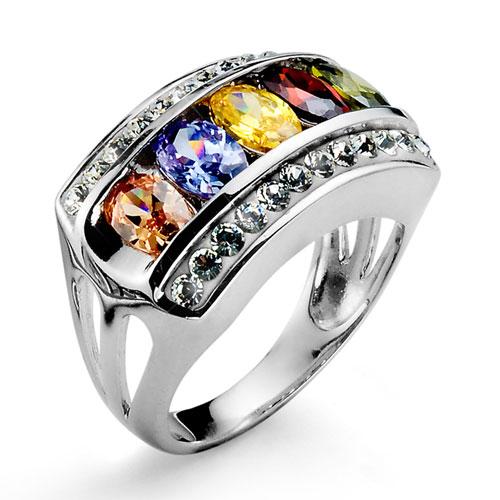 Stříbrný prsten s krystaly Swarovski Oliver Weber Rainbow 7718