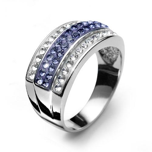 Stříbrný prsten s krystaly Swarovski Oliver Weber Bar 7722-VIO