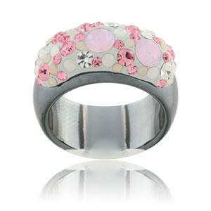 Prsten s krystaly Swarovski Hematit Polaris Rose Large