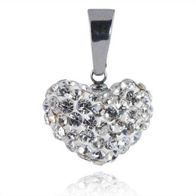 Ocelový přívěsek s krystaly Heart Silver