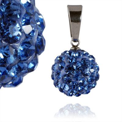 Ocelový přívěsek s krystaly Ball Blue