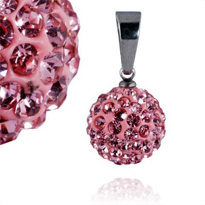 Ocelový přívěsek s krystaly Ball Pink