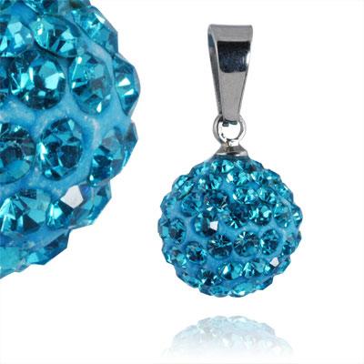 Ocelový přívěsek s krystaly Ball Turqouise