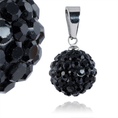 Ocelový přívěsek s krystaly Ball Black