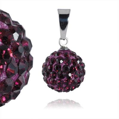 Ocelový přívěsek s krystaly Ball Purple