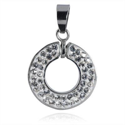 Ocelový přívěsek s krystaly Circle Silver