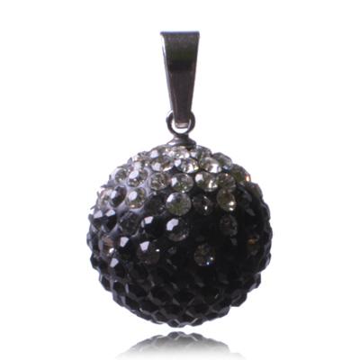 Ocelový přívěsek s krystaly Ball Black White