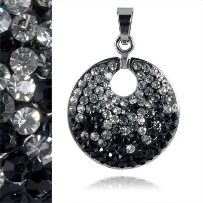 Ocelový přívěsek s krystaly Black White