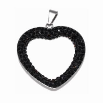Ocelový přívěsek s krystaly Heart Black