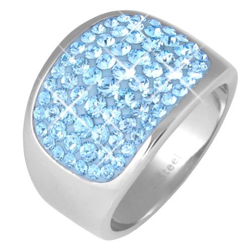 Prsten s krystaly Swarovski RSSW10-AQUA